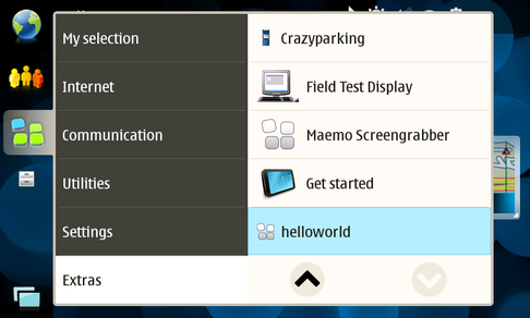 helloworld on Maemo menu